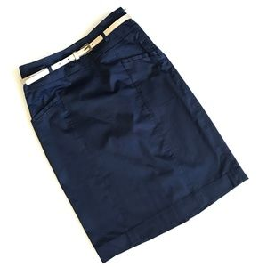 H&M Navy Blue Cotton Stretch Pencil Skirt - Size 4